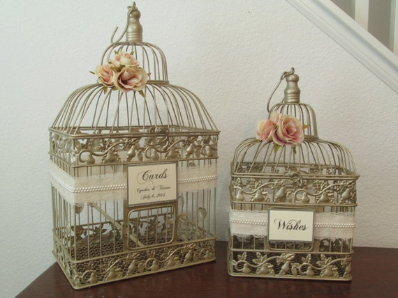 Birdcage For Wedding Gift Cards : Champagne Birdcage Wedding Card Box Set / Victorian / Wishes / Wishing ...