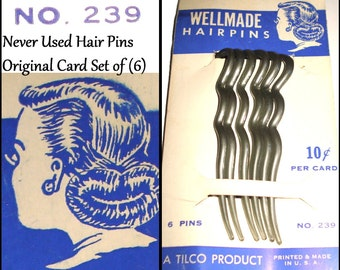 Vintage 1930s Hairpins 1940s Original Card Made in the USA Set of 6 Hair Comb Hair Styles Art Deco Steampunk