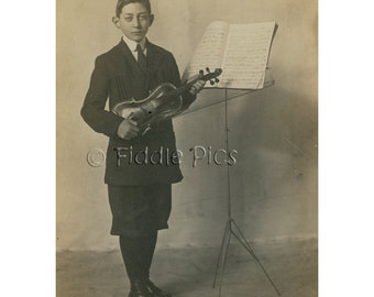 Old Photo | Victorian Boy holding Violin and Bow Posed next to Music Stand
