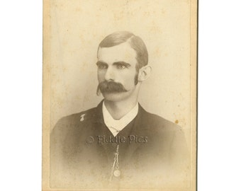 Man with GREAT Mustache | Antique Photo | Cabinet Card Photograph | c1880s