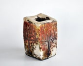 Raku Fired Ceramic Cubic Container with Tree Figures - DerinmaviBodrum