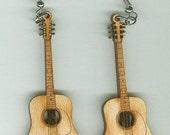 FREE SHIPPING - Acoustic Guitar Earrings - Laser Cut Wood (ER-023)