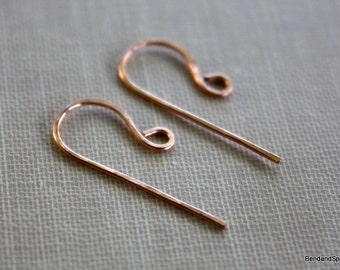 Handmade Bright Copper Ear Wires 20 Gauge Jewelry Supplies