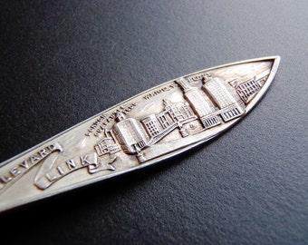 Vintage Solid Sterling Silver Souvenir Spoon: Century of Progress, 1833 Chicago 1934, Michigan Boulevard Link, Wrigley Building