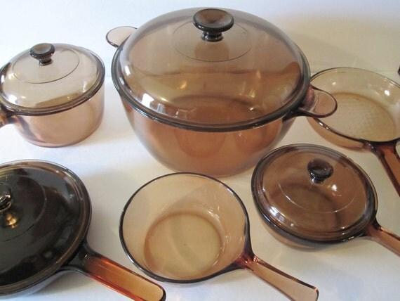Items Similar To Vintage 11 Piece Vision Corningware Amber