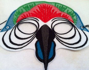 Embroidered Parrot Mask - Adult