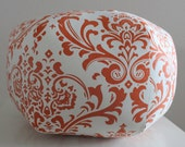 "18"" Ottoman Pouf Floor Pillow Traditions Damask Sweet Potato"