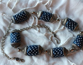 Original Fabric Necklace, Fabric Necklace, Fabric Handmade Necklace, Handmade Necklace, Blue Fabric Polka Dots Necklace, Textile Necklace