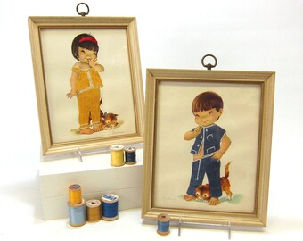 1960s Constanza kids framed prints - satin stitch detail - vintage nursery and children's room decor - Asian children - retro illustration