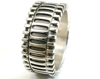 Abstract Steampunk Gear Ring - Polished Sterling Silver - Mens Engagement