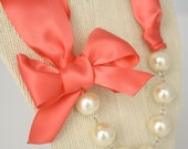 Coral Rose Ribbon and Ivory or White Pearl Necklace - Bridesmaid Necklaces - Wedding Necklaces