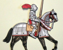 Armored Knight on Horse Paper Doll - Articulated Medieval Armor Art