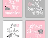 Elephant Art // You are my sunshine Pink and Gray Art Prints // Pink and Grey Nursery Decor // Girls Nursery Art Prints //4-8x10 PRINTS ONLY