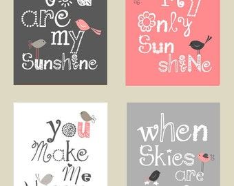 You are my sunshine Art Prints // Pink and Gray Nursery Art Prints // Pink and Gray Nursery Decor // Art for Girls Room // 4-8x10 prints set