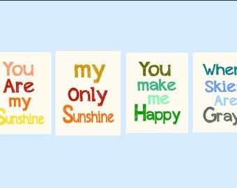 "Nursery Wall Art, You are my Sunshine print, 4  Piece Set Children's Prints 11x14"", great for nursery, works for boys and girls"