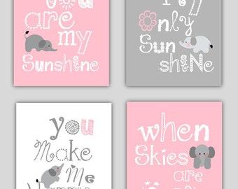 Elephant Art // You are my sunshine Pink and Gray Art Prints // Pink and Grey Nursery Decor // Girls Nursery Art Prints // Four PRINTS ONLY