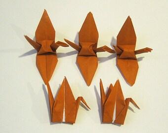 """100 3"""" Brown Bronze origami cranes paper cranes wedding party decoration single color"""