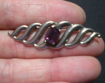 Vintage 1980s Sterling Silver Amethyst Bar Brooch Pin February Birthstone