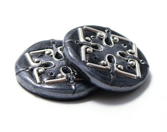 Polymer clay large buttons celtic ornaments ispired dark grey with metal findings set of two