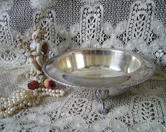 Silver plate footed bowl. patina tray, trinkets tray, Shabby cottage,