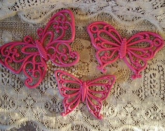 Vintage painted, Vibrant Pink Butterfly trio, Collection Three, fusia pink, home decor, nursery decor