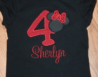 Personalized Custom  Minnie Mouse Birthday Shirt Blouse