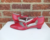 SALE Bright Lipstick Red Leather Cross Strap Low Heel Pumps - Slight Wedge - Retro Mod - Liz Claiborne - Size 8.5 - 9 Narrow