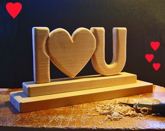 DIY I LOVE YOU - Hand Carved in Wood - Wedding Decor - Shower Decor - Valentine Gift - I Love you - Do It Yourself by supplies wk studios