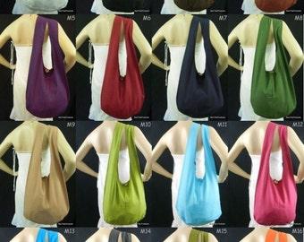 Cotton Bag Purse Crossbody Messenger Sling Thai Monk Buddha Hobo Hippie Medium You Pick Color