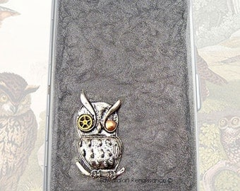 Steampunk Cigarette Case Mechanical Owl with Gear and Cog Inlaid in Hand Painted Enamel Robot Owl Metal Wallet Personalized Options