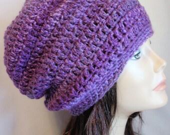 Slouchy Hat Beanie Crochet Shades of Purple Stripe Tweed Summer Beanie Beach Hat Slouch Beanie Spring Hat Beanie Dreadlocks Hat Teen Slouch