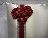 Ivory Satin Wedding Kneeling Pillow Cover Embellished with Flowers in Apple Red and Rhinestone Mesh Trim