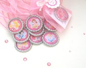 disney princess birthday party favors, girls, set of 10, cinderella, sleeping beauty, belle, little mermaid, Jasmine, bottlecap  pendants