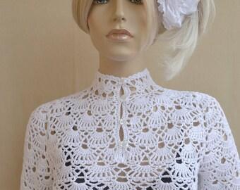 White crochet sweater, crocheted bluse, Crochet Sweaters, Womens sweater,  bohemian sweater, retro sweater, crochet cover up, crochet shirt