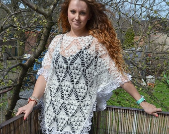 Ivory crocheted poncho size M L