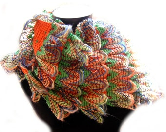 """Curly Ruffle Scarf """"Peacock on Fire"""" Scarf - Original Design, Cha Cha Cha Style - the PATTERN (.pdf)"""