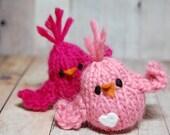 Birds Knit Love Valentine Friend Birds - Pink Birds - Wedding Cake Toppers - Hearts - Natural Fibers Waldorf Soft Toys