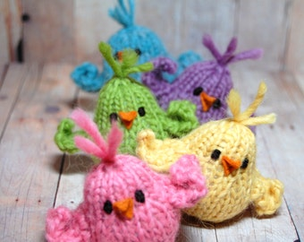 Knit Birds, Stuffed Animal, Waldorf Birds, Spring Birds, Easter Chicks, Easter Basket, Bird Toy, Woodland Nursery, Knit Soft Birds, Toy Bird