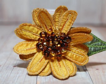 Sunflower Brooch - Flower Lapel Pin, Silk Sunflower Pin, Flower Jewelry, Flower Accessory, Yellow Flower Pin, Flower Brooch, Embroidered Art
