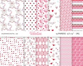 Pink Valentine Digital paper: 12 jpg files 12x12 INSTANT DOWNLOAD 419