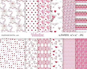 Pink Valentine Digital paper: 12 jpg files 12x12 INSTANT DOWNLOAD 419