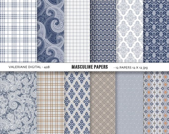 Boy digital papers, blue and brown masculine backgrounds, Boys and Men - 12 jpg files 12x12 - INSTANT DOWNLOAD Pack 428