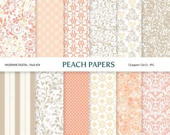 Floral Digital Paper, wedding digital paper, damask digital paper, scrapbook paper in peach cream and beige - Pack 454