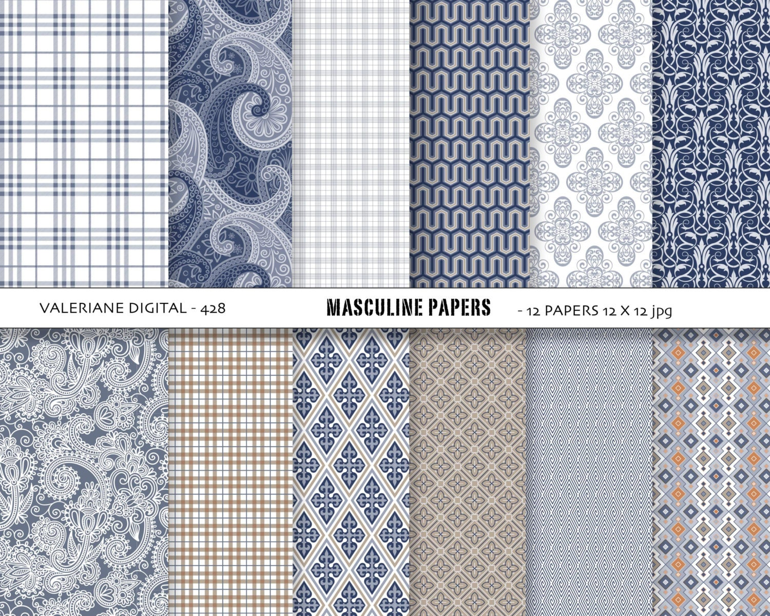 Boy Digital Papers Blue And Brown Masculine Backgrounds Boys