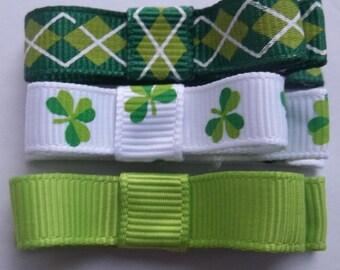 ST. PATRICKS DAY Green Shamrock Hair Clippies -Set of 3-  Babies Toddlers Girls
