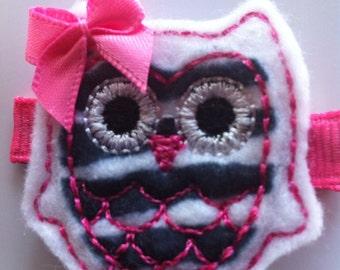 White Black Pink Zebra Owl Hair Clip Babies Toddlers Girls