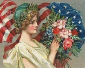 Women Lady Liberty Patriotic American Flag