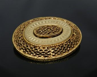 Vintage Two Tone Gold Oval Brooch