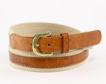 Christian Dior Preppy Belt, Khaki canvas chestnut leather two tone combo menswear sport golf, 80s 90s designer