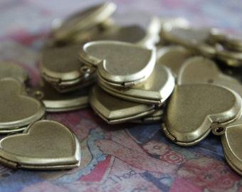 5 Vintage Brass Heart Locket Charms